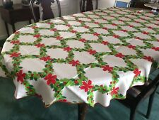 Vintage Christmas Wreaths Tablecloth. 89 x 59 inches oval