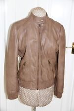 South light brown size 14 fake leather jacket elastic waist & cuff zip good cond