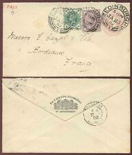 SCOTLAND QV POSTAL STATIONERY R + T GIBSON UPRATED to FRANCE...BURNS NIGHT 1902
