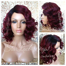 Synthetic Full Wig Bob Short Burgundy Red Wavy Dark Root Side Part Heat Safe Ok