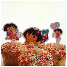 12x DORA THE EXPLORER CUPCAKE CAKE TOPPERS Party Jelly Cup Food Picks Girl