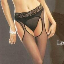 LYCRA LACE TOP SHEER SUSPENDER GARTER STOCKINGS PANTYHOSE CROTCHLESS LEG AVENUE