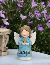 Miniature FAIRY GARDEN Terrarium Figurine ~ Mini Blue FAITHFUL Angel with Cross