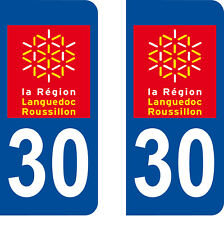 Département 30 sticker 2 autocollants style immatriculation AUTO PLAQUE