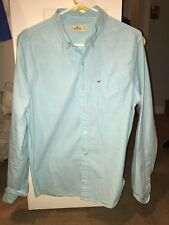 Men's Hollister Turquoise Light Blue Button-Up Dress Shirt Size Small EXCELLENT
