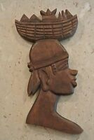 """Hand Carved Woman With Basket On Head Wooden African Wall Art 17-3/4"""""""