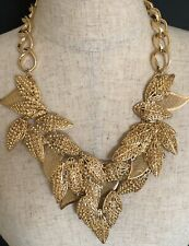 BCBG MAXAZRIA GOLD LEAVES STATEMENT NECKLACE