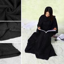 Cuddle Blanket Snuggle Plush Soft Fleece Wrap With Sleeve Winter Warm Snug Black