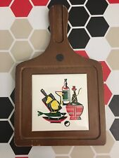70s Vintage Retro Kitsch Wooden Tile Grapes Cheese Wine Board Tableware Bar