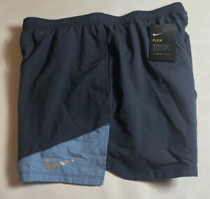 """Nike Flex Distance Running Shorts 5"""" Blue Lined 904221 471 Men's Large NEW NWT"""