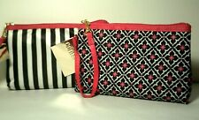 NEW Cosmetic Makeup Bags Lot of 2 NWT Allegro Wristlet Lined Pink Black White