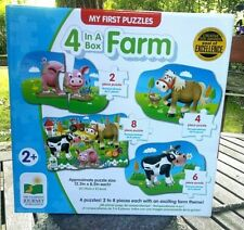 My First Puzzle Set 4-in-a-Box-Farm Puzzle At Home Fun  Age 2+