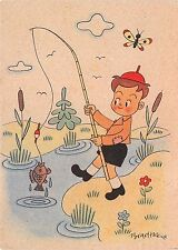 AK Junge mit Angel Künstler Bradtke Verlag Kind Berlin-Pankow Postkarte