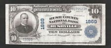 1902 Rush County National Bank Of Rushville $10 Chrtr# 1869, No Pinholes Or Tear