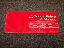 1967 Dodge Polara & Monaco Original Owner Owner's Operator User Guide Manual V8