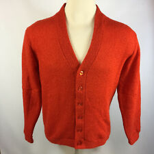 Rare Mint Vintage 60s 70s Orange Knit Mohair Wool Mr. Golf Cardigan Sweater M