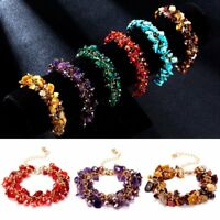 Men Women Jewelry Handmade Natural Stone Chip Bead Bangle Bracelet Healing Reiki