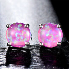 925 Silver 7.4mm Round Fire Opal Stud Earrings Wedding Jewelry Gift 7Color Chose