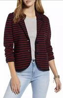1901 Shrunken Women's Knit Wool Blend Blazer Striped Red Black Jacket Small $109