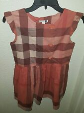 Burberry girls double breasted check ruffle sleeve dress size 12y