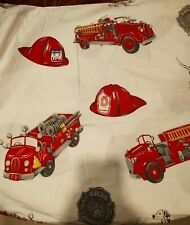 Pottery Barn Kids Boy's Fire Truck Engine Full/Queen Duvet Cover White & Red