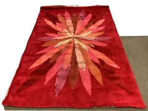 """MCM Shag Carpet Hot Pink Frosty-N Japanese Rug NEVER WALKED ON 64"""" By 102"""""""