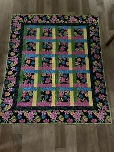 Brand New Handmade Lap Quilt Black, Green And Pink Tropical Pattern 54x64