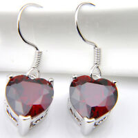 Wedding  Jewelry Gift Natural Fire Red Garnet Silver Heart Dangle Earrings