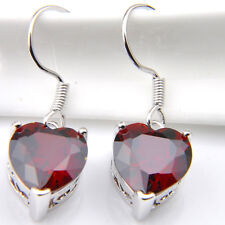 Dangle Hook Earrings With Heart Style 22.45 Cts Natural Fire Red Garnet Silver
