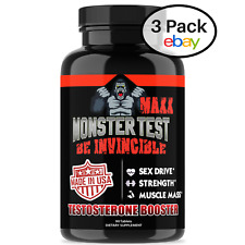 Angry Supplements MONSTER TEST MAXX Testosterone Booster Maximum Strength 3 Pack