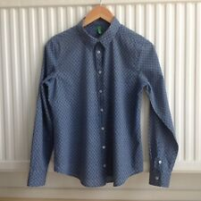UNITED COLOURS OF BENETTON (S) BLUE PATTERNED LADIES SHIRT