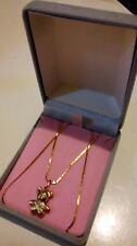 PRETTY 9ct 375 Yellow Solid Gold Teddy Bear Pendant on 16 inches Chain/Necklace*