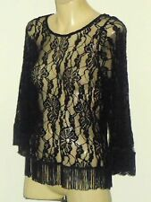 GIRL XPRESS BlackLaceTasselPartyTop Sz12NWoT