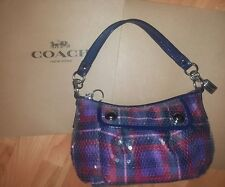 COACH  POPPY Tartan Plaid Groovy Sequins Shoulder HOBO Bag Purse