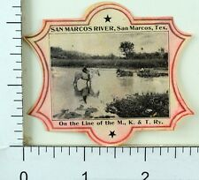 1904 San Marco, Texas, World's Fair MKT Railway Poster Stamp Luggage Label F63