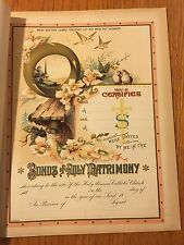 Antique Bible Art Print 1800's UNUSED Christian Wedding Marriage Certificate