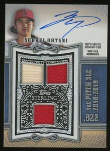 2020 Topps Sterling Gold Shohei Ohtani Triple Jersey Bat AUTO 7/10 Angels