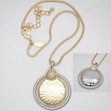 gold circle pendant reversible necklace Chico's jewelry two tone hammered matte