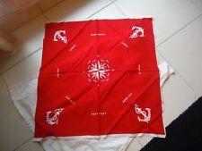"""Foulard rouge et blanc en coton """" Les vents """""""