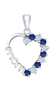 0.5 Ct Round Blue Sapphire 18K White Gold Over Heart MOM Pendant Valentine Gifts