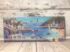 CANVAS Picture Lighthouse HOLIDAY PICTURE BY THE SEASIDE HARBOUR SHOPS