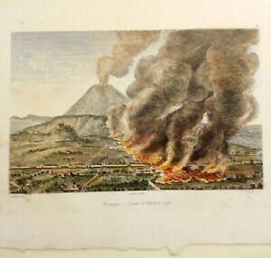 Incisione all'acquaforte Campania:Torre d Greco Vesuvio Eruzione 1751 Audot 1835