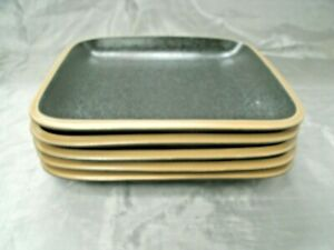"Dansk SANTIAGO Black Set of 5-8"" Square Salad Plates Tan Rim Stoneware HTF euc"