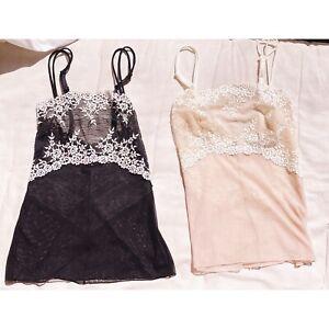 Wacoal 2x1 Black & Nude Floral Lace Chemise Top Cami Womens Sz M NWOT