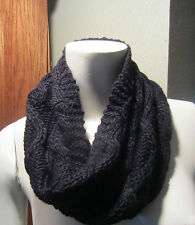 Black knit cowl neck circle tube scarf New From Hot Topic