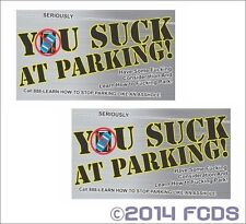 You Suck At Parking Offensive Business Cards - 10 Pack Printed on 2 Sides
