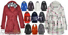 Check Hood Jacket Coat Belt Button Fleece Hooded Coats 6 8 10 12 14 Women Ladies