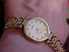 14K Geneve SWISS Diamond Bezel & MOP Dial Yellow Gold Ladies Watch Bracelet Vint