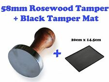 58mm Barista Coffee Cafe Tamper Rosewood Handle Flat Base + Large Tamping Map