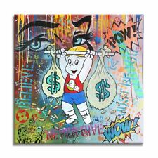 Believe, Original Painting, Oil, Acrylic, Stencils on Canvas, Signed, Comics